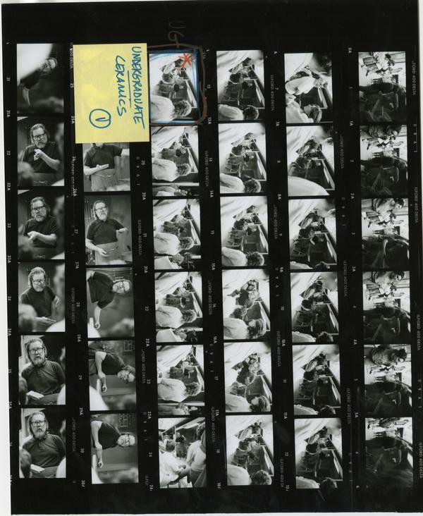 Various shots of classroom scenes from an undergraudate ceramics class