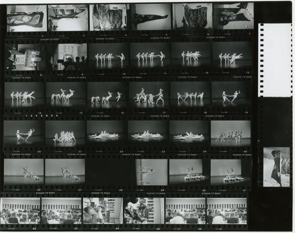 Contact sheet of art pieces, dancers on stage, group of students