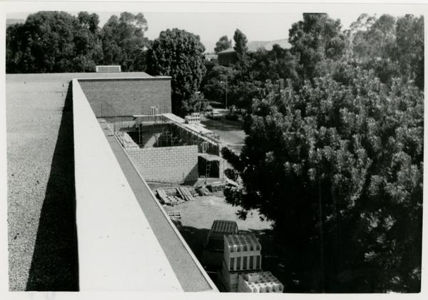 View of the construction and surrounding area from the top of Schoenberg Hall