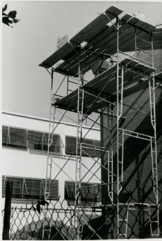 Erected scaffolding used in the construction of Schoenberg Hall