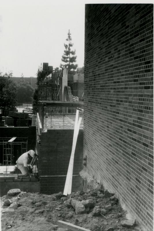 Construction worker working on the site of Schoenberg Hall