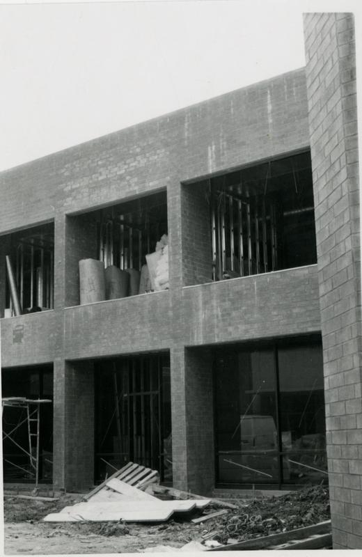 View of partially built side of Schoenberg Hall