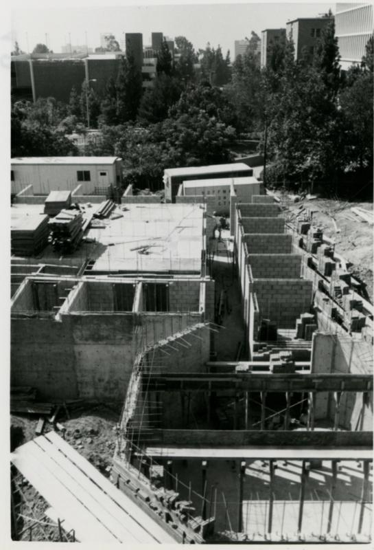 Overhead view of Schoenberg Hall construction site from nearby building