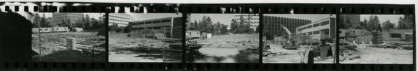 Contact sheet of Schoenberg Hall during construction