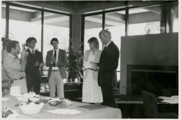 Two speakers in front of room facing attendees during Goldwyn Reception, May 1981