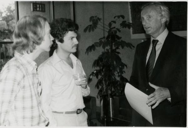 Three men speaking at Goldwyn Reception, May 1981
