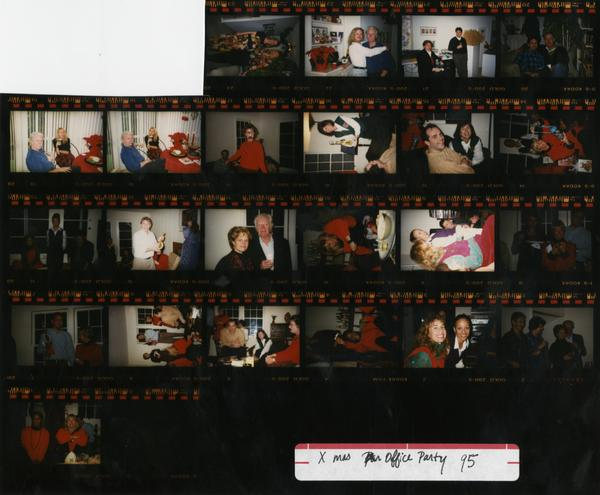 Contact sheet of Dean's OFC Staff Christmas office party, 1995