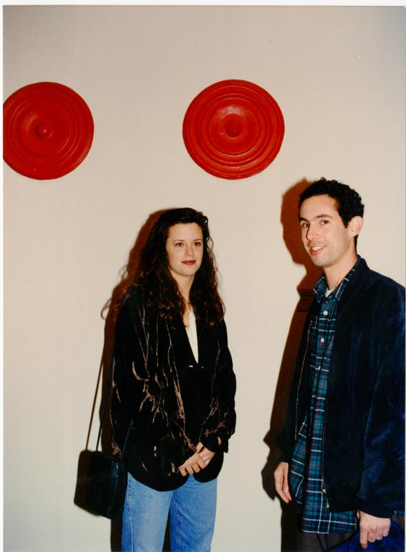 Rachel Lachowicz with other artist, February 1993