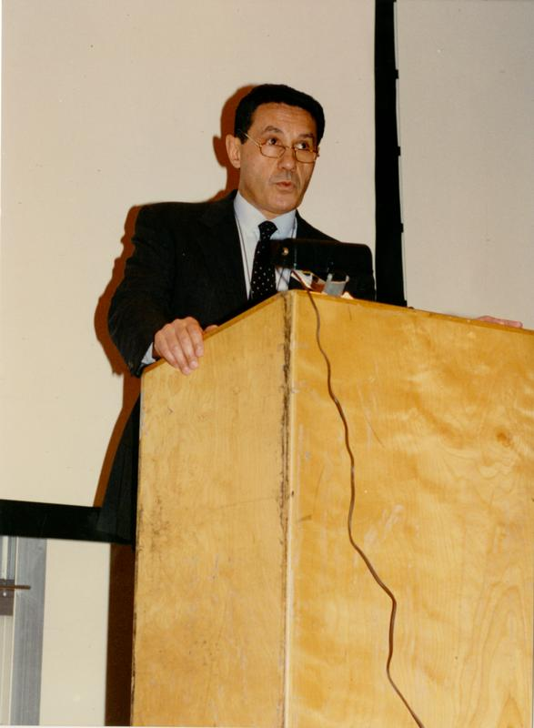 Man from FIAR at podium for FIAR International Prize event, February 1993