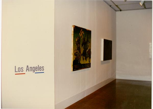 Artwork from Los Angeles haging in gallery for FIAR International Prize event, February 1993