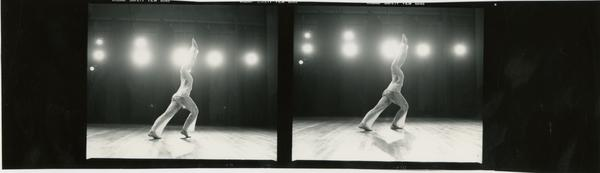 Contact prints of dancer performing in front of stage lights