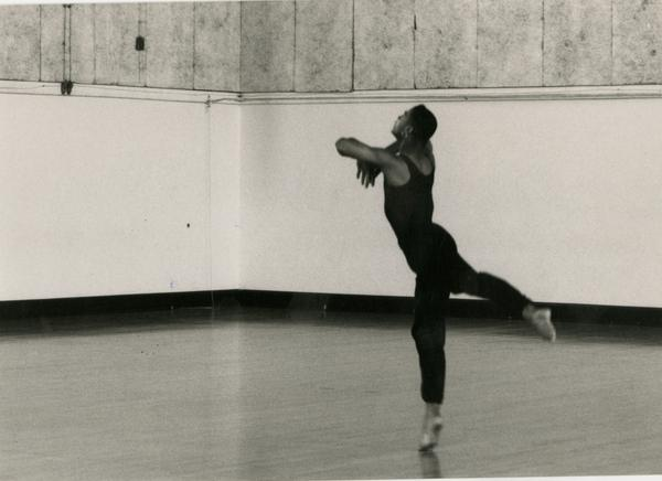 Dancer practicing in classroom