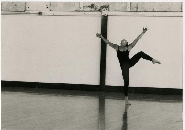 Dancer practicing in classroom
