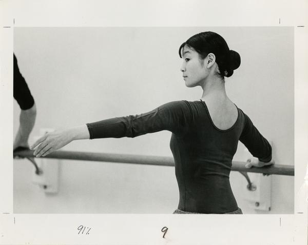 Student practicing in dance classroom, 1978