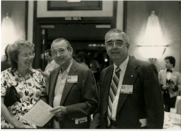 Dentists pose for photograph at UCLA Alumni Dentistry Luncheon (5/1984)
