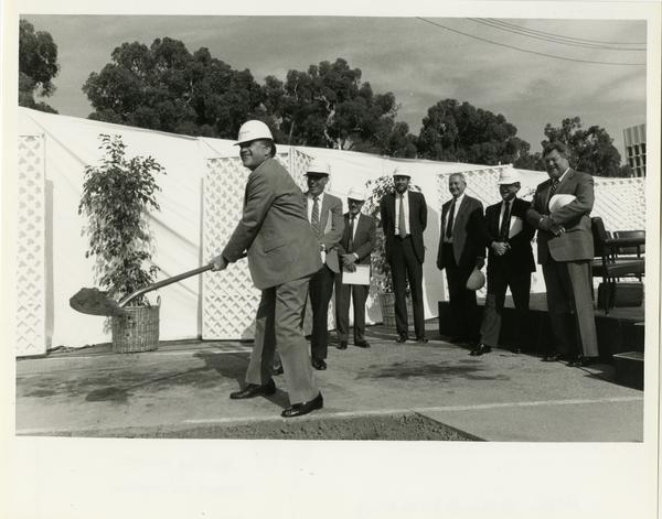 Charles E. Young breaks ground on the UCLA Ambulatory Care Complex, 1987