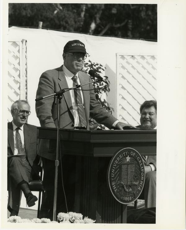 Unidentified man speaks at the groundbreaking for the Ambulatory Care Complex