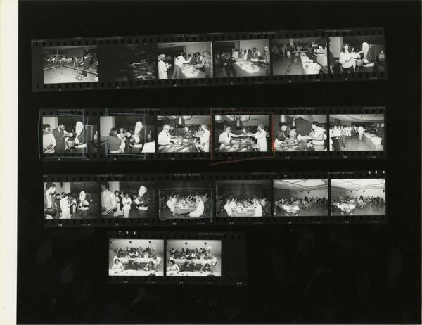 Contact sheet of cafeteria scenes / Christmas celebration
