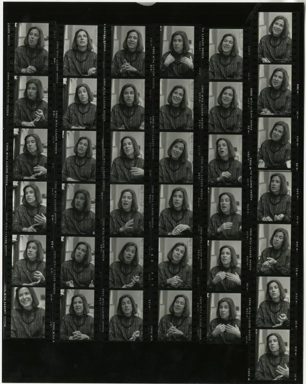 Contact sheet of portraits of Cindy Donovan in the Health Sciences Development department, 1984