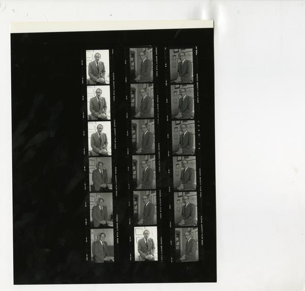 Contact sheet of portraits of Frederick Eilber, 1988