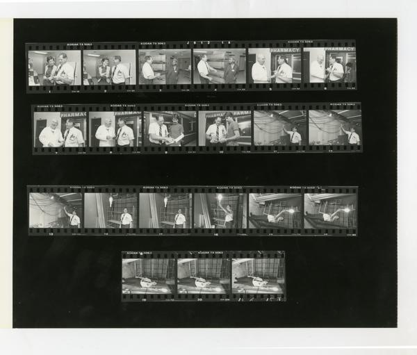 Contact sheet of Ed Montana of the Facilities Management Department, 1985