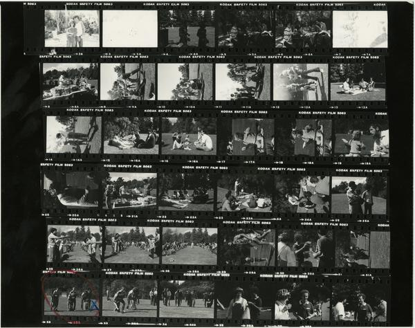 Contact sheet of family picnic (Oct 1981)