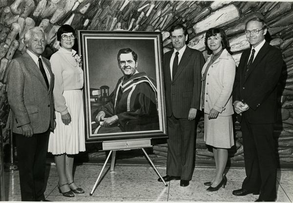 Group with portrait at UCLA Medical Center Fulfillment Fund Career Day, 1982