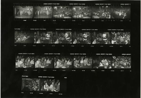 Contact sheet of UCLA Medical Center Christmas party, 1981