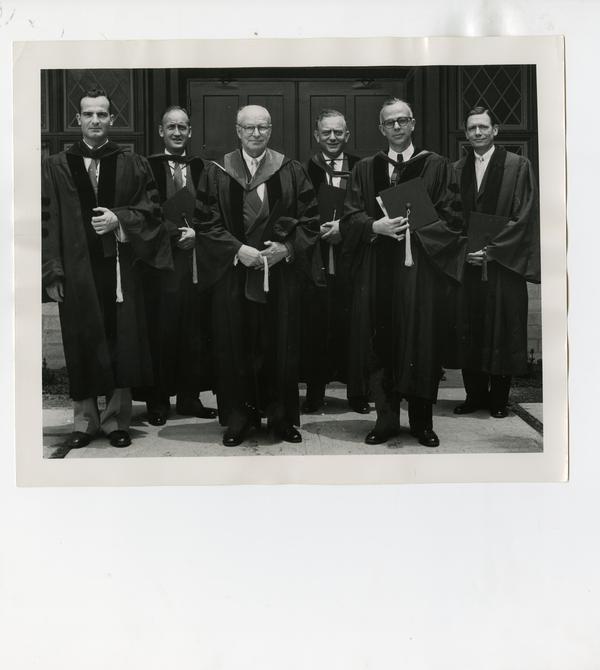 Group portrait of Dr. Ralph Sonnenschein, Dr. A.F. Rasmussen, Dr. Charles M. Carpenter, Dr. Joseph Swartz, Dr. John M. Chapman, Dr. William P. Longmire, Jr. at the Dedication of University Window