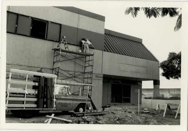 Exterior view of Parlow Library during renovations