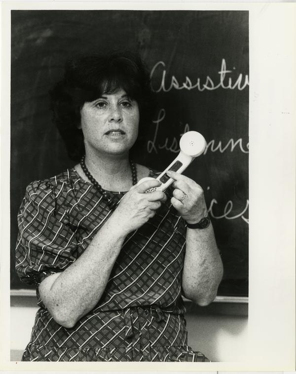 Marjorie Harris doing a presentation for Hope for Hearing program