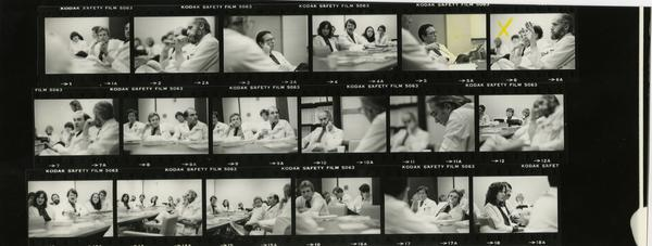 Contact sheet of event at Jonsson Comprehensive Cancer Clinic, 1981