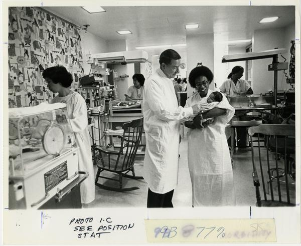 NICU Martin Luther King, Jr. Hospital (6/30/1982) (Dr. Robert Schlegel and Xylinia Bean)
