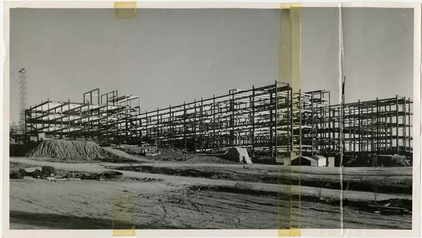 UCLA Medical School contruction - Iron structure completed; just prior to removing the crane, photo taken from the S.W. corner (12/15/1952)