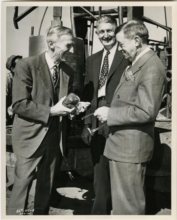 Groundbreaking ceremony of UCLA Medical Center; James Gilluly, Stafford Warren; Regent Edward A. Dickson (1949)