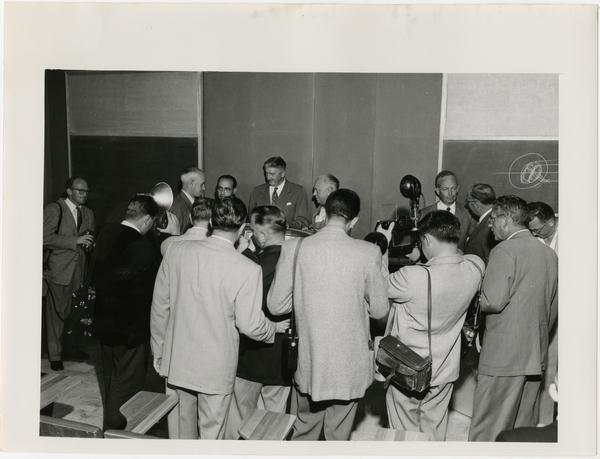 Atomic reactor press conference, 1955?