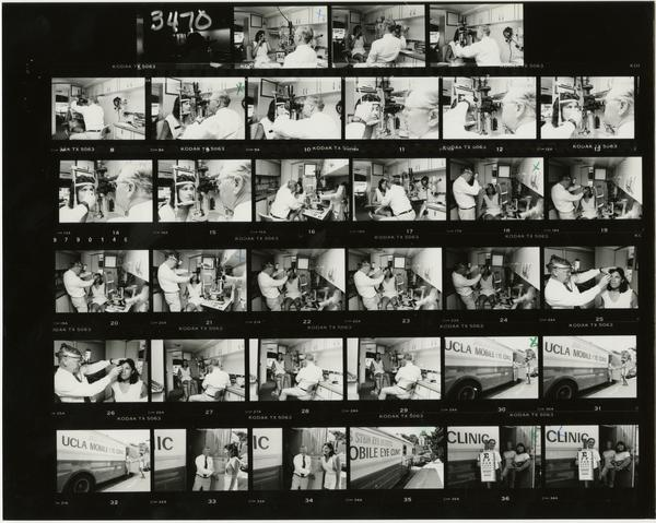 Contact sheet of Oct 86 / Medi-Scene Mobile Eye Clinic