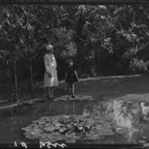 Uplifters Club in Rustic Canyon, lily pond, Los Angeles, 1927