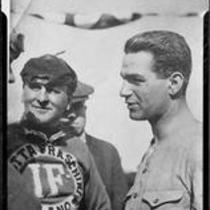 Santa Monica Road Races, Harry Grant and 3 men, Santa Monica, 1911-1914, rephotographed 1950