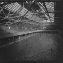 Interior view of the Plunge bathouse, Long Beach, 1929