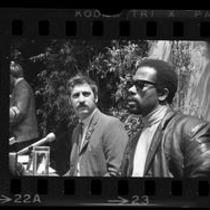 Black Panther leader, Eldridge Cleaver and Jack Weinberg holding press conference in Los Angeles, Calif., 1968