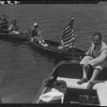 Boats in line, Lake Arrowhead, 1929