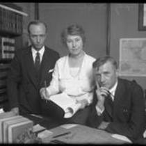 Thomas Barker of California State Labor Bureau, with Deputy State Labor Commissioner Mrs. M.M Lyon and Deputy Attorney General Erwin W. Widney, circa 1930