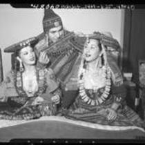Peruvian singers-dancers, Imma Sumack, Moises Vivanco and Cholita Rivera in costume, 1947