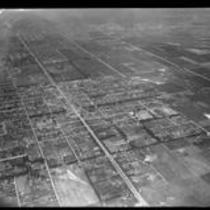 Aerial view of streets and fields, Los Angeles, [1930s?]