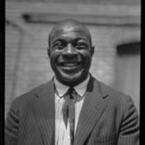 George Godfrey, heavyweight boxer, [outside the KJH Radio studio, Los Angeles(?)], circa 1926-1927