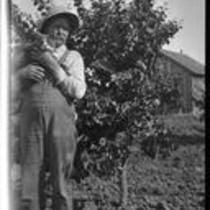 Harve Brillhart, uncle of Adelbert Bartlett, in his apricot orchard in the San Joaquin Valley, near Patterson, 1927